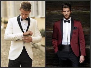 Alta calidad marfil / borgoña hombres boda tuxdos novio esmoquin con solapa del mantón negro para hombres 2 piezas del juego personalizar (chaqueta + pantalones + corbata + cintura) 1