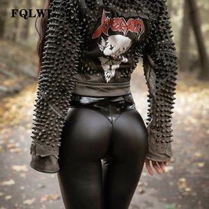 FQLWL Punk Bodycon Faux Pu Lederhosen Frauen Drücken Schwarz Hohe Taille Hosen Weibliche Herbst Winter Hosen Frauen Sexy