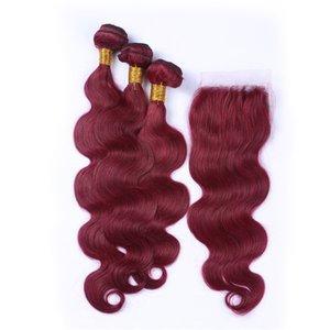 La onda del cuerpo 99j con el encierro del cordón de Borgoña El cierre de encaje con paquetes brasileño de la Virgen del pelo humano teje la extensión del pelo de visón suave