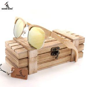 BOBO BIRD natureza única de bambu Sunglasses Mulheres Homens Handmade Sun Óculos para o presente Feminino