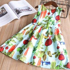 Nuevo vestido de chaleco impreso jardín rábano chaleco sin mangas falda transpirable tela de algodón fresco primavera verano vestidos tirantes falda 2-10 t