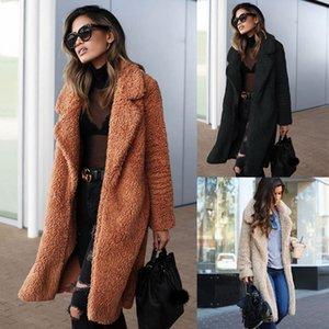 Hot 2018 Autumn and Winter Fashion Women's Lapel Pocket Temperament Model Shirt Warm Thick Long Coat S-3XL