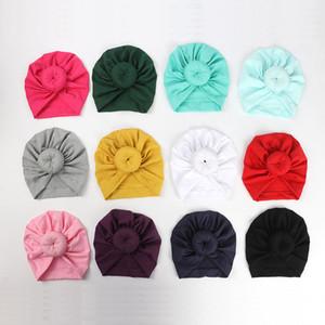 12 cores infantil bonito da criança Unisex Bola Knot indiana Turban Crianças Primavera Outono Caps Bebê Donut chapéu cor sólida Cotton Hairband C39