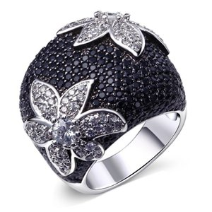 jewelry rings for women black color full crystal punk hip hop wholesale hot fashion free of shipping