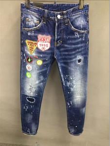 personalidad oportunidad real de Europa vaqueros d2 marca de marea alta calidad masculina de lavado elásticos micro llevado pantalones delgados