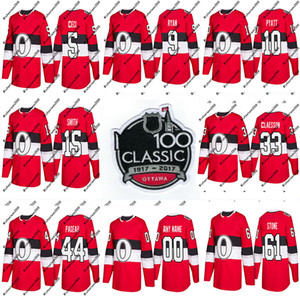 44 Jean-Gabriel Pageau Jersey 2018 Temporada 100º Clássico 18 Ryan Dzingel 10 Tom Pyatt 15 Camisolas de Hóquei de Zack Smith Ottawa Senators Custom