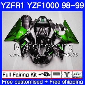 Carrocería para YAMAHA YZF R 1 YZF 1000 YZF1000 YZFR1 98 99 Marco 235HM.0 YZF-1000 YZF-R1 98 99 Cuerpo YZF R1 1998 1999 Carenado Verde llamas negro