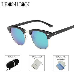 LeonLion Vintage Rimless Lunettes De Soleil Polarisées Hommes / Femmes UV400 Marque Designer Classique Oculos Desol Métal Lunettes Femmes