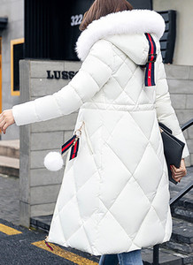 Winter Cotton & Cotton Blend Long Sleeve Hooded Thick Coats for women