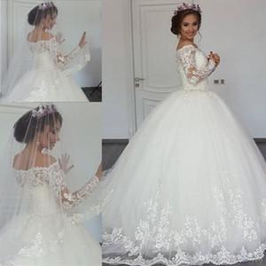 Vestidos de novia atractivos del vestido de bola Manga larga Ilusión pura Capilla Tren Iglesia Vestidos de novia de encaje personalizados Apliques