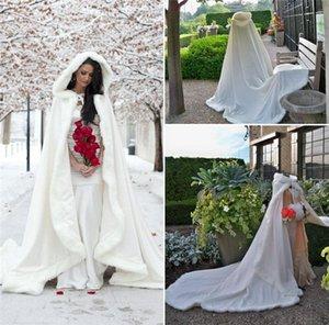 Im Freienumhang-Umhang-Winter-Brautumhang-Kunstpelz-Hochzeits-Umhang-Jacken mit Kapuze für Winter-Hochzeits-Umhang-Hochzeits-Gast-Kleider
