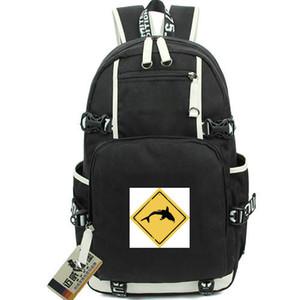 حزمة القرش اليوم تحذير الشعار daypack حقيبة مدرسية على شاطئ البحر أوقات الفراغ packsack حقيبة كمبيوتر محمول حقيبة مدرسية رياضية حقيبة ظهر على ظهر الباب