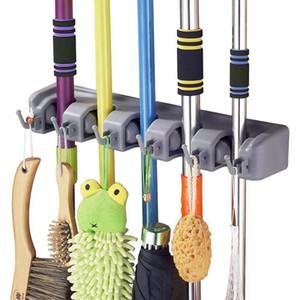 Porte-balai et vadrouille avec rangement pour garage à 5 positions et 6 crochets Peut contenir jusqu'à 11 solutions de stockage d'outils pour porte-balais