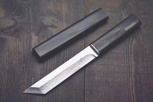 Trasporto di goccia Katana VG10 Damasco d'acciaio Tanto lama Ebano maniglia fissa coltelli a lama con legno di guaina Collection coltello