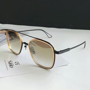 Мужская Система One Pilot Sunglasses Black / Gold Brown затушеванного Sonnenbrille солнечных очки способ Gafas де золь Новый с коробкой