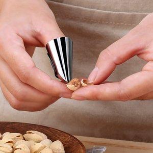 Manga uñas dedo del acero inoxidable de corte de verduras Protector de mano Accesorios de cocina de pelado Shell Herramientas para la nuez
