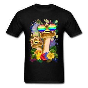 Последние страус Гавайи мода смешные парни футболки Лето Осень шею чистый хлопок топы рубашка для мужчин кофты лето