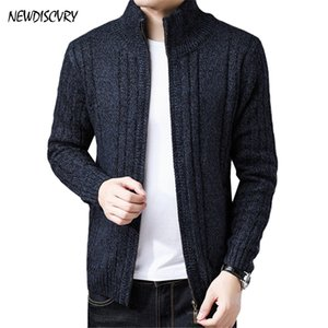 NEWDISCVRY Männer Fleece Reißverschluss Pullover 2018 Mode Winter Warme Strickjacke Stehkragen Dünne Pullover Grau Kaschmir Homme