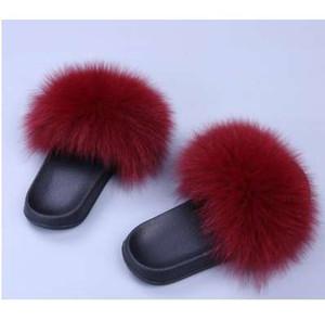 COOLSA Frauen Pelz Hausschuhe Damen Niedlich Plüsch Fuchs Haar Flauschige Hausschuhe Frauen Fell Hausschuhe Winter Warm