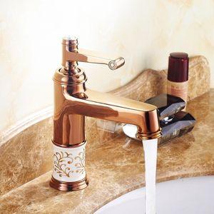 Rose Gold Basin Faucet Bathroom Single handle Diamond And Porcelain Basin Mixer Tap Grifo del lavabo del baño Accesorios de baño