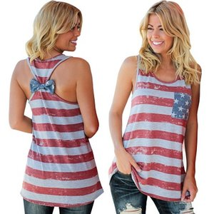 2018 새로운 패션 여름 민소매 탱크 탑 T 셔츠 여성 미국 독립 기념일 국기 디지털 인쇄 다시 Bowknot 조끼