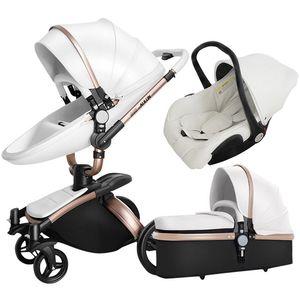 Cochecito de bebé con los asientos del coche, 3 en 1 Cochecito de niño para los recién nacidos, plegable carro de bebé, sistema de viaje bebé Trolley