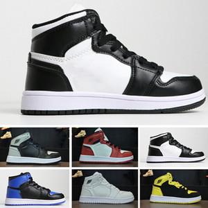 Nike air jordan 1 2018 아동 운동 1 운동화 소년 소녀 농구 신발 금지 1s 제직 운동화 청소년 아동 운동화 EU28-35