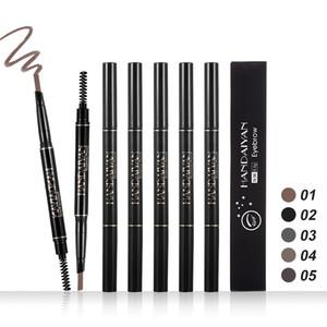 Dropshipping 2018 nova marca de alta qualidade maquiagem HANDAIYAN 5 cores dupla terminou lápis de sobrancelha realçadores de sobrancelha