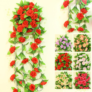 Wall Mounted 250*9 cm Silk Flower Long Artificial Flower Rose Vine Rattan For Valentine's Day Home Garden Hotel Wedding Decoration