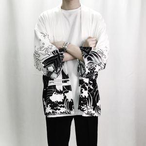 Yaz Erkek Kimono Japon Giysileri Streetwear Rahat Kimono Ceketler Harajuku Japonya Tarzı Hırka Dış Giyim Toptan