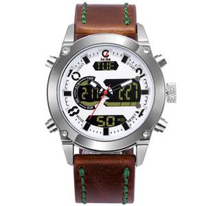 men sport watches analog digital dual display Army Military watch man waterproof leather strap fashion outdoor wristwatch
