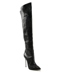 2018 Sexy Cobra Skin Leder Overknee Stiefel Spitz Blade Heels Oberschenkel Hohe Stiefel Schwarz Braun Zipper Lange Stiefel