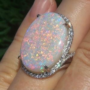 Opal Silver Ring anello del partito delle donne di modo di formato Gioielli 6 7 8 9 10
