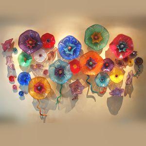 Trippy Coloré Murano Fleur Plaques De Verre Mur Art Élégant Suspendu Plaques Décoration Mur Art pour La Maison Restaurant Musée Hôtel Projets