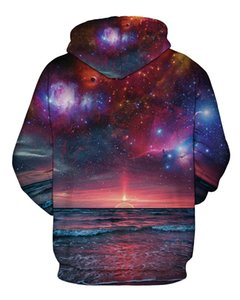 2017 burst star series sunrise 3D digital printing loose large size couple hooded sweater men