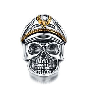 Plata Segunda Guerra Mundial Soldado Aniversario Anillos para hombre Punk Rock Vintage Skull Ring Biker Hombres Joyería