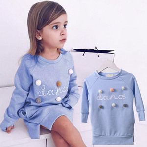 Autumn children pompom sweatshirt dress kids letter printed casual dress girls round collar long sleeve dress A01192