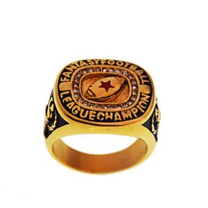 El anillo de acero inoxidable para la liga de campeones de la hembra adulta roja de cinco puntas de la estrella punky del estilo de joyería