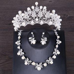 FORSEVEN Lüks Simüle İnci Düğün Takı Seti Gümüş Renk Kristal Gelin Taç Tiara Butterf Kolye Küpe Setleri Takı