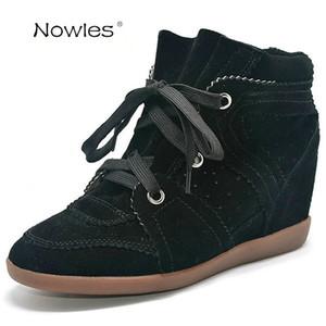 Бобби мода кроссовки Женские сапоги клинья обувь натуральная кожа высота увеличение 7 см ботильоны Женская обувь повседневная