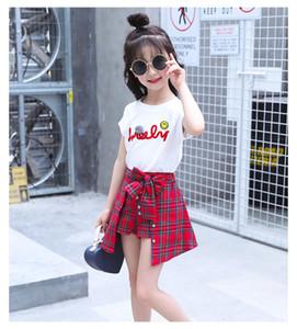 Девушки летняя мода одежда наборы детская Письмо печати футболка + плед лук юбка брюки 2 шт. костюм детская одежда наборы