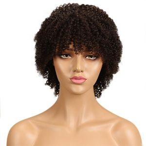 Parrucche Capless afro capelli ricci crespi capelli umani parrucche 2 # colore corto capelli vergini Bob per le donne nere