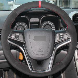 Рук-сшитая крышка рулевого колеса автомобиля вся черная замша на Шевроле Малибу 2011-2014