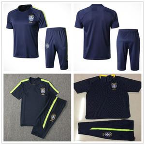 Traje de entrenamiento de manga corta de la Copa Nacional de Brasil 2018 Personalizado Azul Amarillo JESUS COUTINHO Brasil Fútbol Camiseta de fútbol Chándal