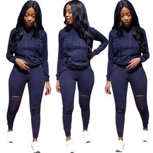 Bkld sexy oco out 2 two piece outfits 2018 outono inverno casual mulheres agasalho manga longa com capuz camisola + calça set s-3xl
