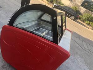 Ücretsiz gönderi oto defrost, soğutma havası konveksiyon tasarımı, buğu önleyici cam 6 NSF onaylı davul buz buzlu şeker dondurma vitrin dondurucu