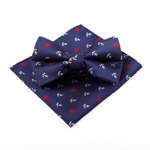 Elegante Flaco Hombre Anchor Arrow Corbata Corbata HandKerchief Pocket Traje Square Gentle Marry Groom Padrino de boda necesario