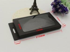 30pcs embalagem de papel preto com janela de plástico para o iphone 6 6 plus case em branco simples pacote de papelão para iphone capa de couro