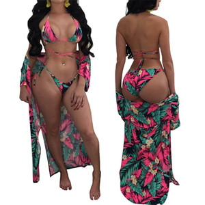 Femme Bikini impresión mangas largas capa suelta capa mujer vendaje traje de baño dama traje de baño combina dos piezas trajes 5 5sn V
