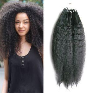 Rempine brésilienne boucle bouclée boucle cheveux micro sonnerie extensions de cheveux humains link perle véritable salon de salon européen cheveux